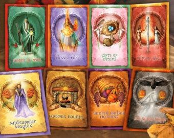 Wheel of the Year Greeting Card Set, Sabbat Greeting Card Pack, Pagan Greeting Cards, High Holiday Greeting Cards