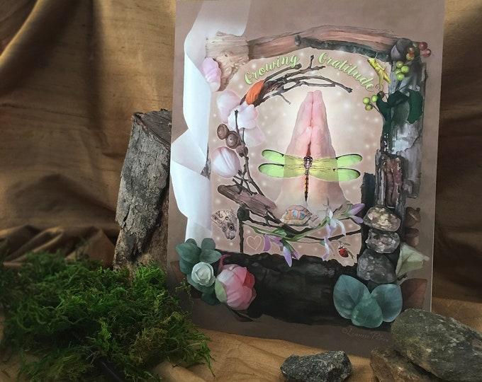 Featured listing image: Growing Gratitude by Leanne Peters - Garden Art - Dragonfly Art - Fantasy Art - Nature Art - Tortoise Art - Prayer Hands - New Age Art