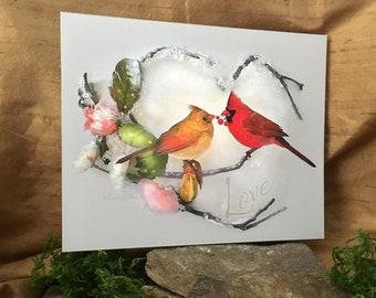 Winter Warmth by Leanne Peters - Cardinal Art - Cardinals - Valentines Day - Love - Bird Art - Winter - Flower Art