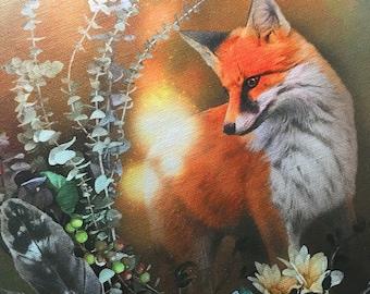 "Fox Fall Magic by Leanne Peters - Solid-Faced Canvas Wrapped 11""x14"" Print - Fox Art - Fall Art - Fantasy Art"