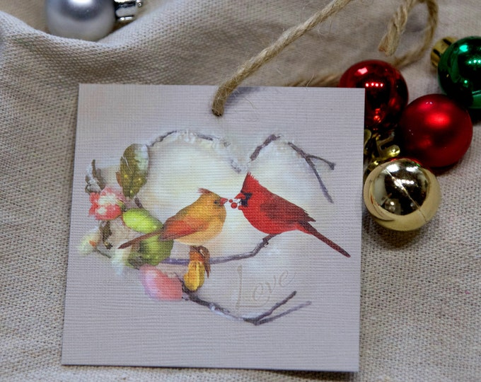 Featured listing image: Cardinal Ornament - Cardinal Art - Cardinal Pair - Heart Art - Christmas Ornament - Holiday Ornament - Tree Decor - Holiday Decoration