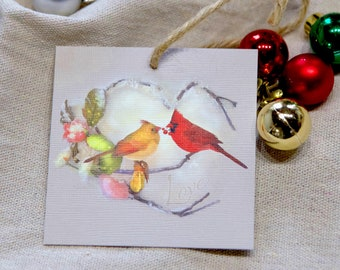 Cardinal Ornament - Cardinal Art - Cardinal Pair - Heart Art - Christmas Ornament - Holiday Ornament - Tree Decor - Holiday Decoration
