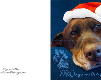 Chocolate Lab Card - Dog Art Card - Christmas Card - Chocolate Lab in Santa Hat - Greeting Card