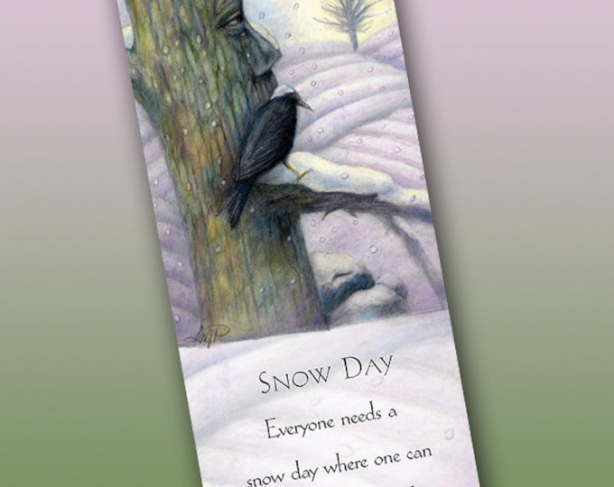 Featured listing image: Snow Day Bookmark - Bookmarker - Bookmarking - Bookmarks for Books - Book Mark - Reading Bookmark - Crow Art - Tree Art - Winter Art