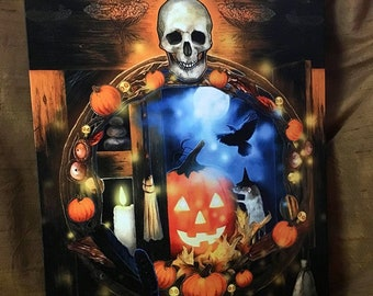 Cabinet Between The Worlds by Leanne Peters - Canvas Gallery Wrapped 12x16 Print - Halloween Art - Fantasy Art - Skull Art - Pumpkin Art