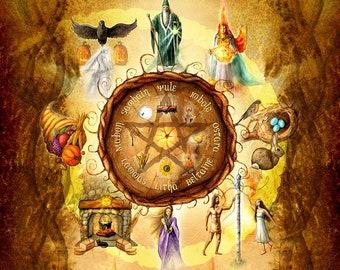 Wheel of the Year Print, Sabbats Art Print, High and Low Holiday Art Print, Pagan Art Print