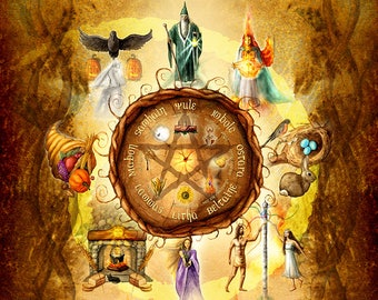 Wheel of the Year - Sabbats - Pagan Art - Archival Print