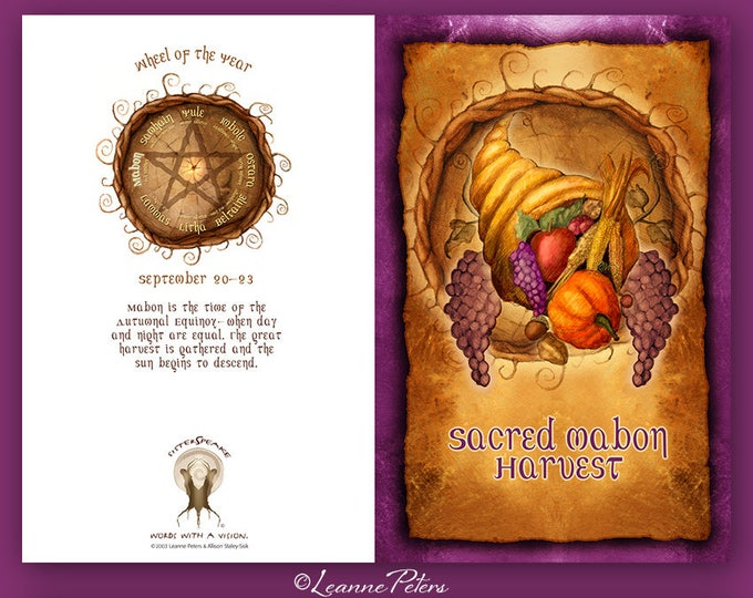 Featured listing image: Mabon - Low Holiday - Fall Equinox - Sabbat Card - Harvest