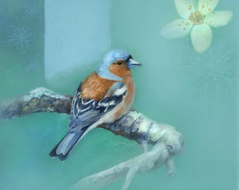 Digital Download Bird Art - Chaffinch Bird - Flower Art - Welcome Summer by Leanne Peters