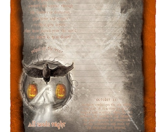 Samhain Digital Stationery, Sabbat Stationery, High Holiday Art, Halloween Art
