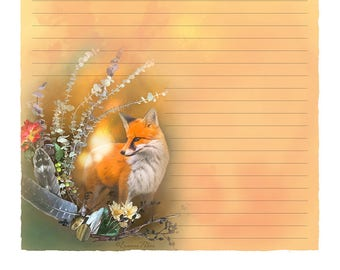 "Digital Stationery Design by Leanne Peters - ""Fox Fall Magic"" - Fall Art - Fox Art - Fantasy Art - Lined Stationery Art"