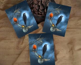 3 Raven Full Moon Stickers - Halloween Art - Raven Magick