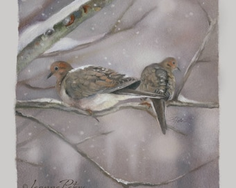 "Dove Art - Bird Art - ""Winter Doves"" by Leanne Peters"