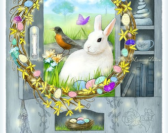 Digital Card Front - Easter Card - Wreath Art - White Rabbit Art - Spring - Primitive Cabinet Art - Farmhouse - by Leanne Peters
