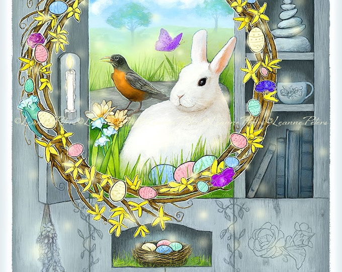 Featured listing image: Digital Card Front - Easter Card - Wreath Art - White Rabbit Art - Spring - Primitive Cabinet Art - Farmhouse - by Leanne Peters