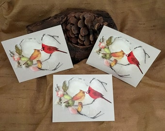 3 Cardinal Stickers - Valentine's Day Art - Flower Art Stickers - Heart Art - Cardinal Art Stickers