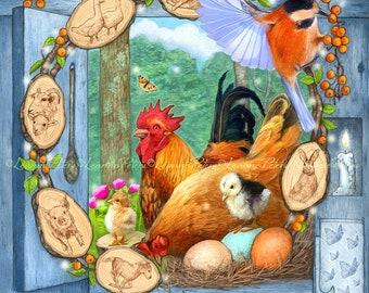 Chicken Print, Farm Print, Backyard Farm Print, Spring Animals Print
