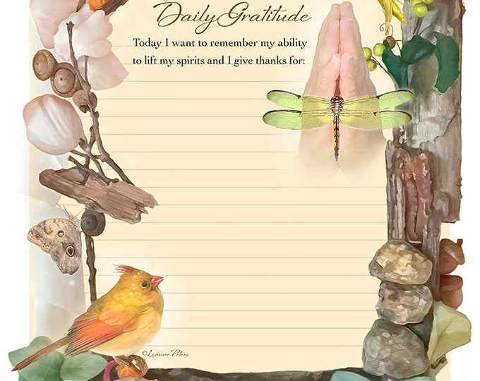 """Featured listing image: Digital Stationery Design by Leanne Peters - """"Daily Gratitude"""" - Dragonfly Art - Spring Art - Cardinal Art - Lined Stationery Art"""