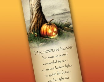 Halloween Island Bookmark - Bookmarker - Bookmarking - Bookmarks for Books - Book Mark - Reading Bookmark - Pumpkin Art - Jack O'Lantern Art