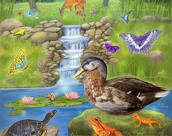 Duck Art Print, Woodland Animals Art Print, Frog Deer and Butterfly Art Print, Animal Magic Art Print