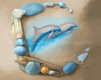 Sea Angels by Leanne Peters - Seaside Art - Dolphin Art - Fantasy Art