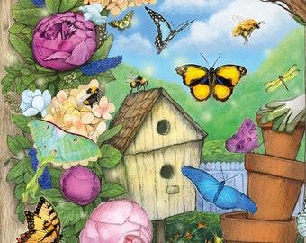 Butterflies and Bees Postcard, Spring Art Postcard, Birdhouse and Wreath Art Card, Flower Art Postcard