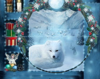 Winter Art - Seasonal Art - Fox Art - Arctic Fox - Fantasy Art - Wreath - Angel Art