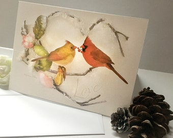 Cardinal Valentines Card - Cardinal Christmas Card - Greeting Card - Cardinals Card - Cardinal Pair - Male and Female Cardinals