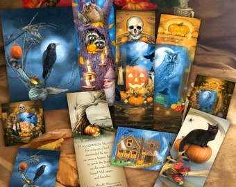 Raven Halloween Gift Set, Witchy Bookmarks Card Sticker Set, Samhain Gift Set, Spooky Bookmark Set