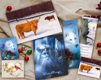 Holiday Card and Bookmark Gift Set - Pack of 7 Items - Highland Cow Holiday Greeting Card - Winter Art Stickers - Bookmark Set