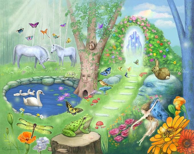 Featured listing image: Fantasy Garden Art Print, Children's Art, Unicorn Swan Frog Butterfly Art, Fairy Art