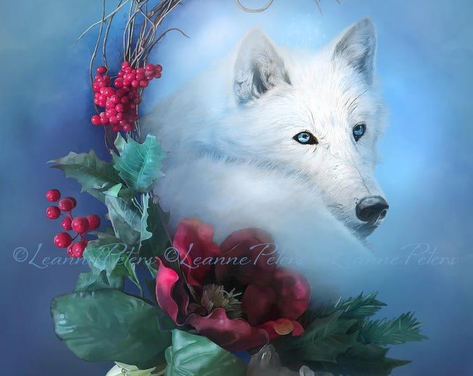 Featured listing image: Wild Winter Solstice by Leanne Peters - Winter Art - Seasonal Art - Wolf Art - Fantasy Art