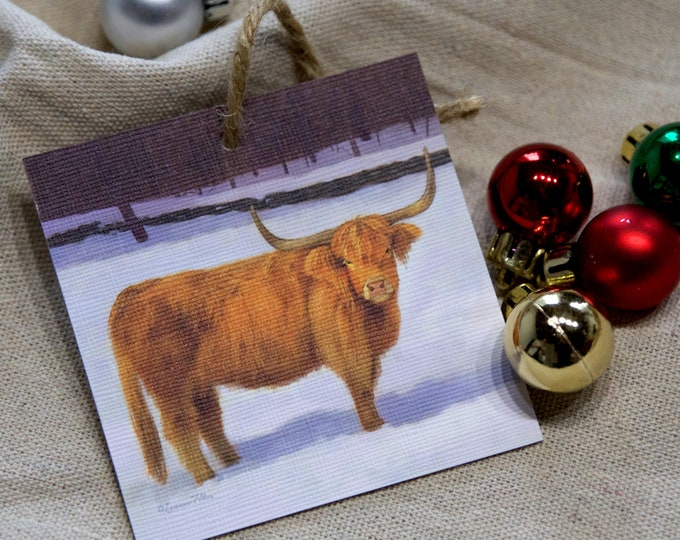 Featured listing image: Highland Cattle Ornament - Cattle Art - Red Cow - Highland Cow - Christmas Ornament - Holiday Ornament - Tree Decor - Holiday Decoration