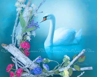 Inner Grace by Leanne Peters - Swan Art - Spring Art - Fantasy Art