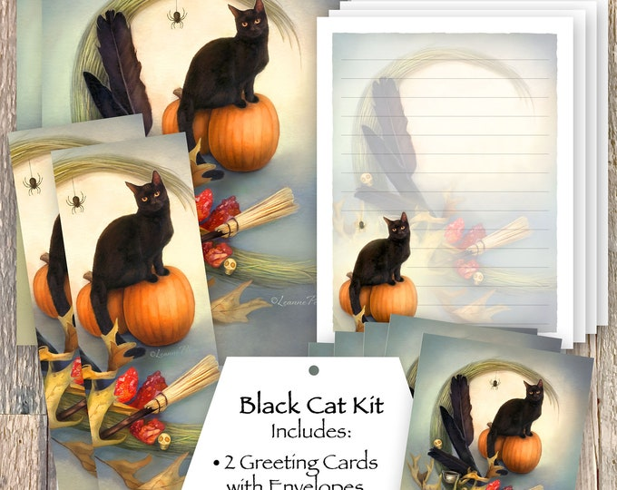 Featured listing image: Black Cat Stationery Set, Black Cat Bookmark, Black Cat Stickers, Black Cat Greeting Cards