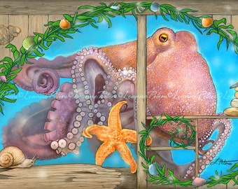 Octopus Art - Ocean Animals - Starfish Art - Underwater Magic - Stone Cairn Art