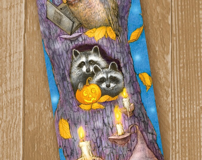 Featured listing image: Halloween Large Bookmark - Raccoon Bookmark - Owl Bookmark - Bookmarker - Bookmarking - Bookmarks for Books - Book Mark - Reading Bookmark