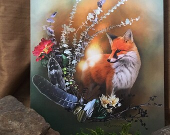 "Fox Fall Magic by Leanne Peters - Solid-Faced Canvas Wrapped 16""x20"" Print - Fox Art - Fall Art - Fantasy Art"