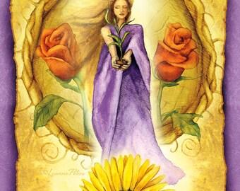 Litha Postcard, Midsummer Postcard, Gardening Summer Postcard, Sunflower Art Card