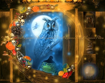 Cabinet Between The Worlds II by Leanne Peters - Halloween Art - Fantasy Art - Skull Art - Pumpkin Art  - Owl Art - Toad Art