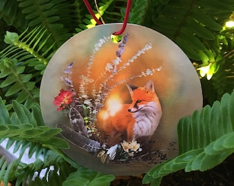 Fox Fall Magic Ornament - Christmas Ornament - Holiday Ornament - Tree Decor - Holiday Decoration