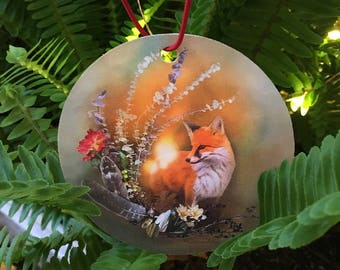 Fox Ornament - Fox Art - Red Fox - Christmas Ornament - Holiday Ornament - Tree Decor - Holiday Decoration