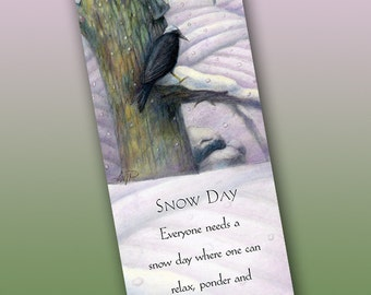 Snow Day Bookmark - Bookmarker - Bookmarking - Bookmarks for Books - Book Mark - Reading Bookmark - Crow Art - Tree Art - Winter Art