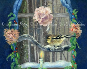 "Sign of Light 8"" x 10"" Archival Print by Leanne Peters - Bird Art - Window Art - Winter Art"