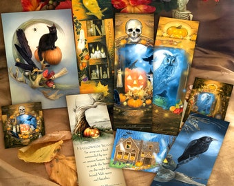 Halloween Gift Set, Witchy Bookmarks Card Sticker Set, Samhain Gift Set, Spooky Bookmark Set