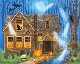 Pumpkin Party - Halloween Art - Black Cat Art - Jack O'Lantern Art - Haunted House Art
