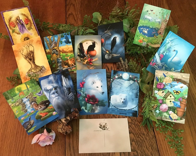 Featured listing image: Animal Magical Postcard Set, Black Cat Raven Wolf Art Postcards, Winter and Summer Solstice Cards, Swan Butterflies Duck Raccoon Postcards