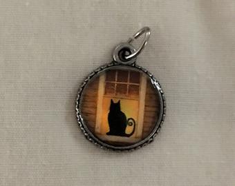 Black Cat Halloween Charm - Halloween Jewelry - Gothic Jewelry