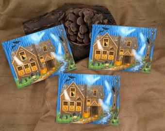 3 Haunted House Stickers - Halloween Art - Pumpkin Art Stickers