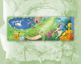 Fantasy Garden Bookmark, Dragonfly and Swans and Frog Bookmark, Fairy Bookmark, Flower Art Bookmark